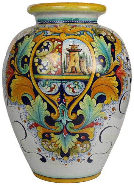 Italian Ceramic Floor Vase - Castle
