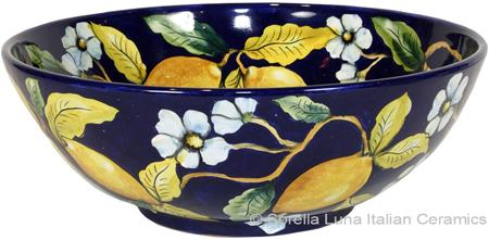 Ceramic Majolica Serving Bowl Blue Lemon