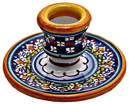 Ceramic Candlestick Checkered Red Blue 8cm