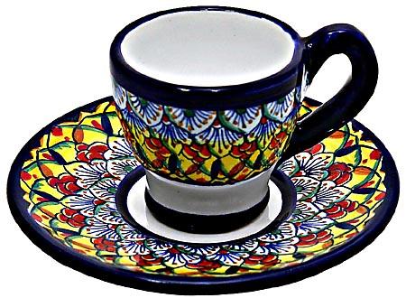 Ceramic Majolica Cappuccino Cup Saucer Deruta Ricco F