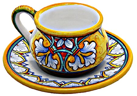 Ceramic Majolica Cappuccino Cup Saucer FDL Yellow Red