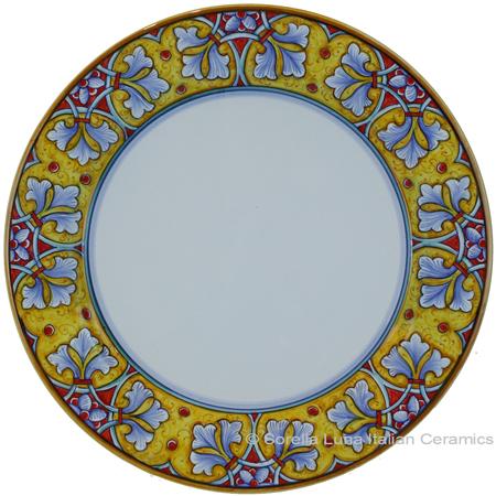 Deruta Italian Charger Plate - FDL Yellow/Soft Blue