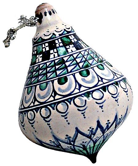 Ceramic Majolica Christmas Ornament Checker Green 8