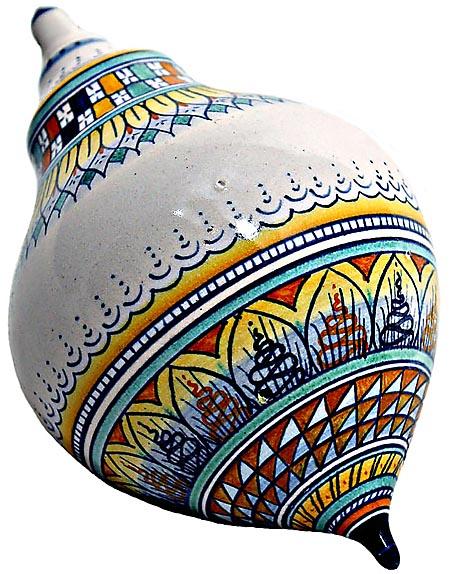 Ceramic Majolica Christmas Ornament Checker Orange 15