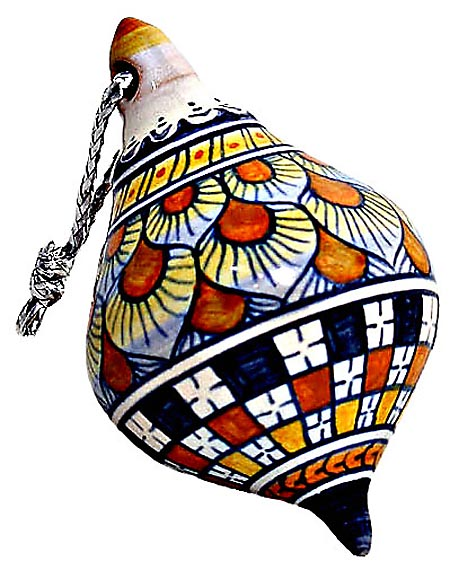 Ceramic Majolica Christmas Ornament Checker Orange 7