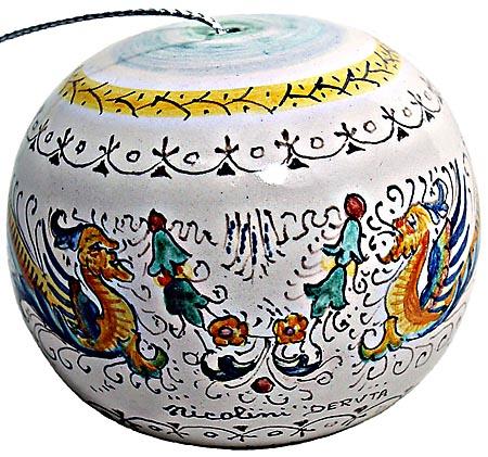 Ceramic Majolica Christmas Ornament Raffaellesco 9cm