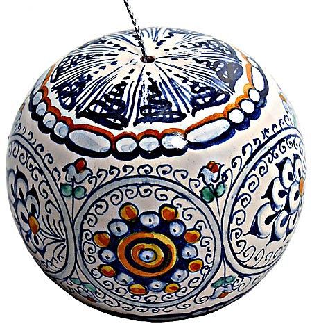 Ceramic Majolica Christmas Ornament Sphere Jubilant 9cm
