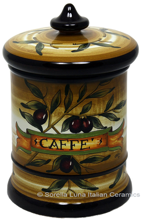 Ceramic Majolica Coffee Jar Tuscan Brown Olive 20cm