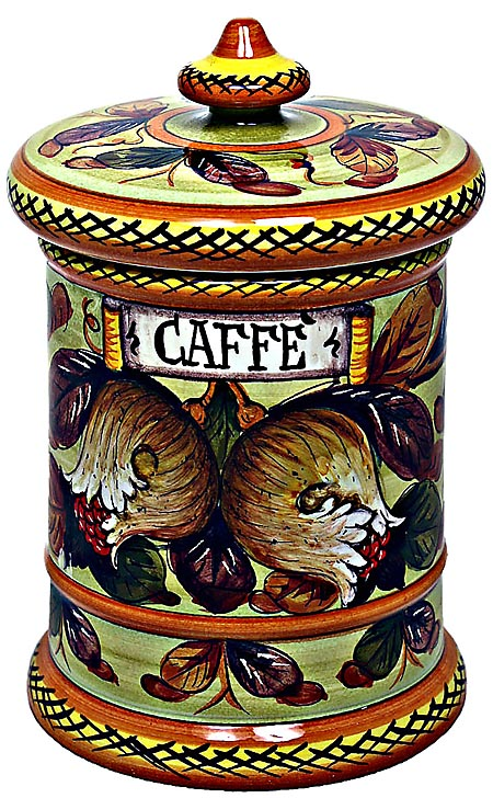 Ceramic Majolica Coffee Jar Tuscan Pomegranate 20cm
