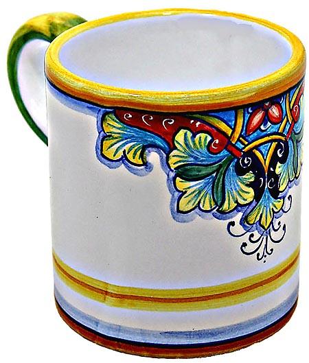 Ceramic Majolica Coffee Mug Cup Vario Red Blue Green