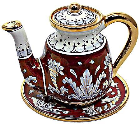 Ceramic Majolica Coffee Tea Pot Saucer Red Gold Leaf 15