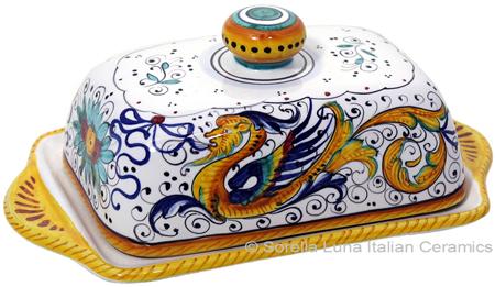 Ceramic Maiolica Covered Butter Dish Tray Raffaellesco