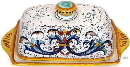 Ceramic Maiolica Covered Butter Dish Tray Ricco Deruta