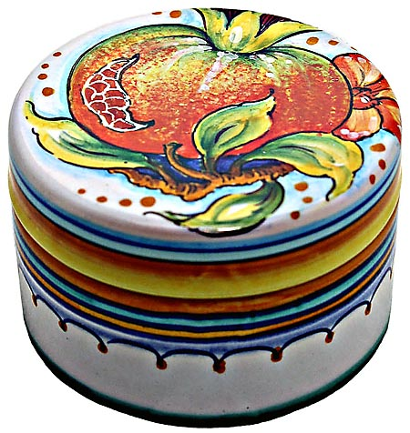 Ceramic Majolica Covered Cylinder Box Pomegranate 8