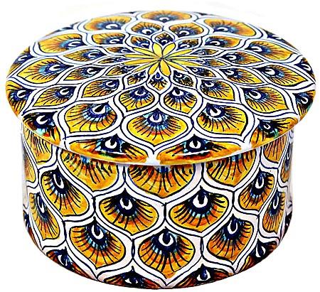 Ceramic Majolica Covered Cylinder Box Yellow Peacock 6