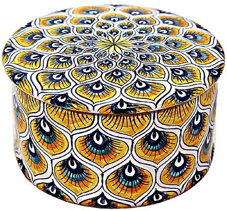 Ceramic Majolica Covered Cylinder Box Yellow Peacock 7