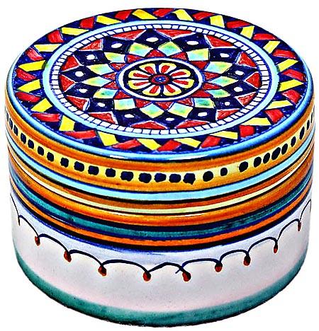 Ceramic Majolica Covered Geometrical Star Cylinder Box 5