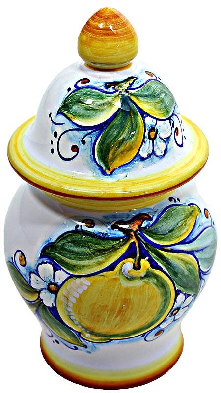 Ceramic Majolica Covered Jar Limoni Classic GG 17cm