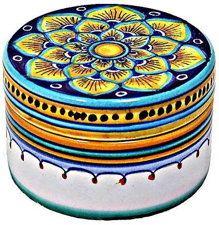 Ceramic Majolica Covered Yellow Petals Cylinder Box 5cm