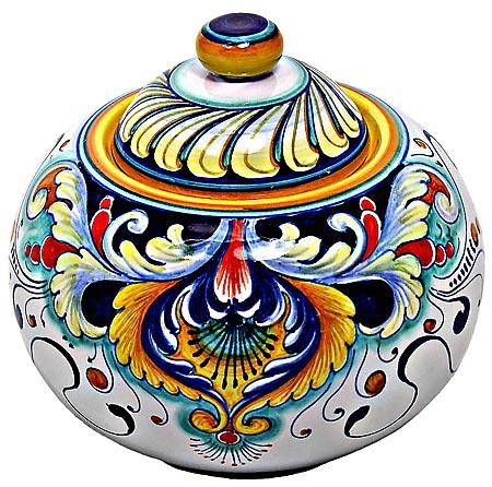 Ceramic Majolica Curved Covered Jar 193 16cm