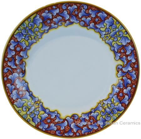 Deruta Italian Dinner Plate - Acanthus Red/Yellow