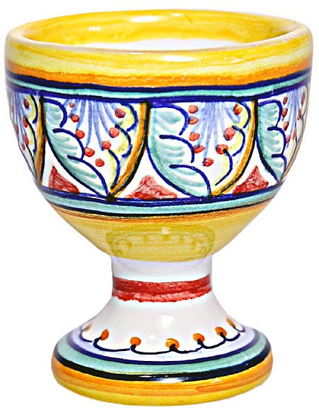 Ceramic Majolica Egg Cup Server Blue Red Vario 6cm