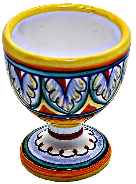 Ceramic Majolica Egg Cup Server Blue White Vario 6cm