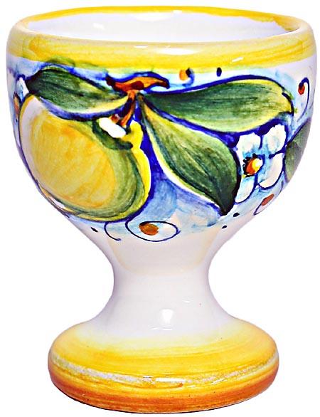 Ceramic Majolica Egg Cup Server Yellow Lemon 6cm