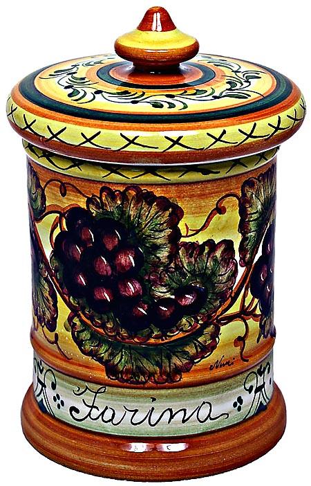 Ceramic Majolica Flour Jar Tuscan Grapes 20cm