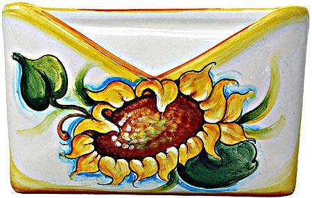 Ceramic Majolica Letter Holder Mail Sunflower WH 18cm