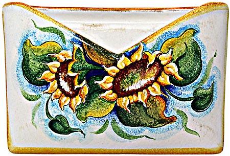 Ceramic Majolica Letter Holder Mail Sunflower WH 24cm