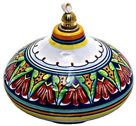 Ceramic Majolica Oil Lamp 1206 3 Red Green Blue