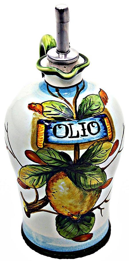 Ceramic Majolica Olive Oil Dispenser Lemon White N 20cm
