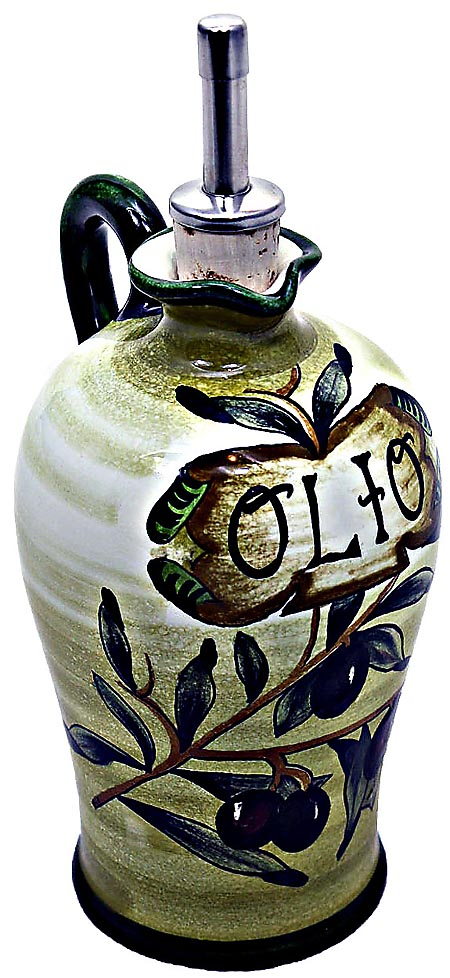 Ceramic Majolica Olive Oil Dispenser Olive Green N 20cm