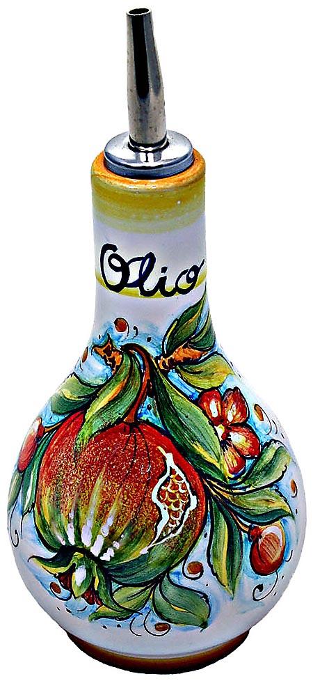 Ceramic Majolica Olive Oil Dispenser Pomegranate 16cm