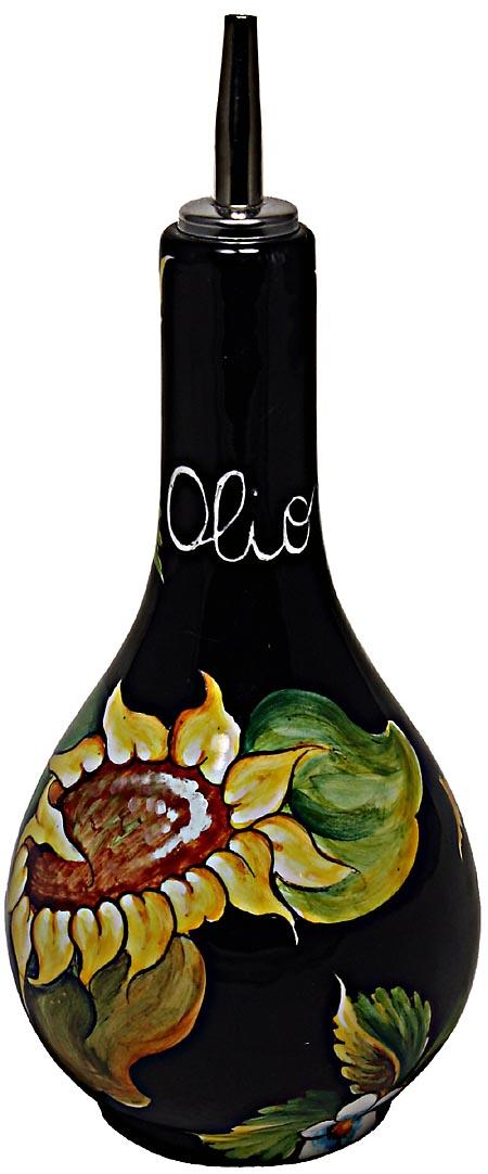 Ceramic Majolica Olive Oil Dispenser Sunflower Black 20