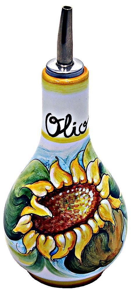 Ceramic Majolica Olive Oil Dispenser Sunflower White 16