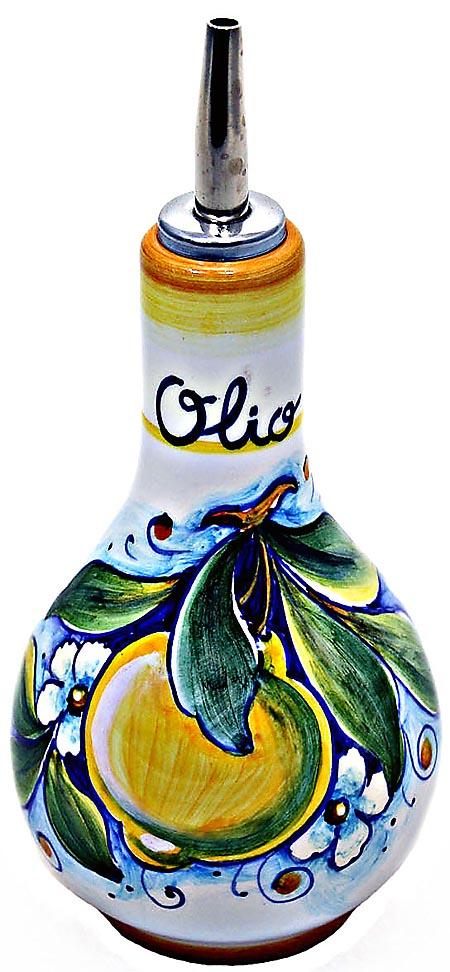 Ceramic Majolica Olive Oil Dispenser Yellow Lemon 16cm