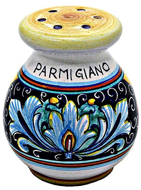 Ceramic Majolica Parmesian Cheese Shaker RiccoVario Blu