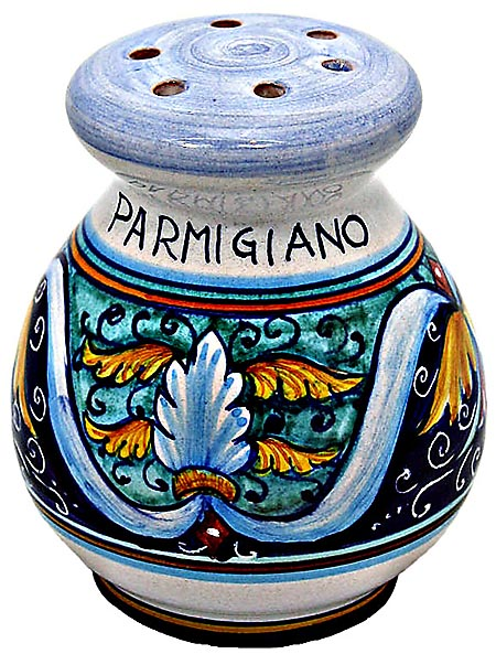 Ceramic Majolica Parmesian Cheese Shaker RiccoVario Grn
