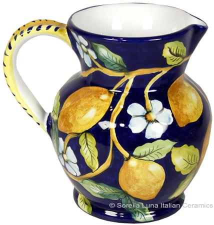 Ceramic Majolica Pitcher Lemons