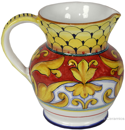 Ceramic Majolica Pitcher Brocatto