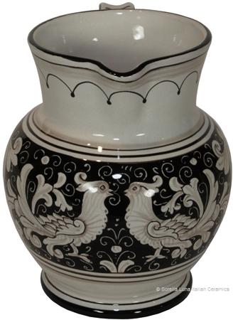 Ceramic Majolica Pitcher Fondo Nero