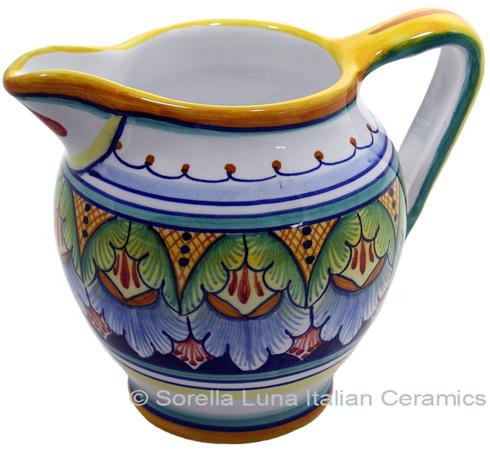 Ceramic Majolica Pitcher Green Blue Red 12cm