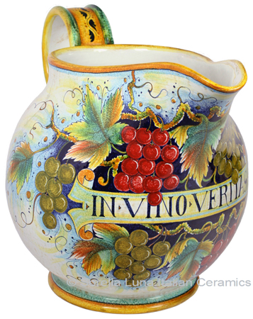 Ceramic Majolica Pitcher Red Grapes 793 51cm