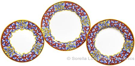 Deruta Italian Ceramic Dinner Place Setting - Acanthus Red/Yellow