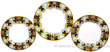 Deruta Italian Ceramic Dinner Place Setting - FDL Black/Brown
