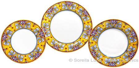 Deruta Italian Ceramic Dinner Place Setting - FDL Yellow/Soft Blue