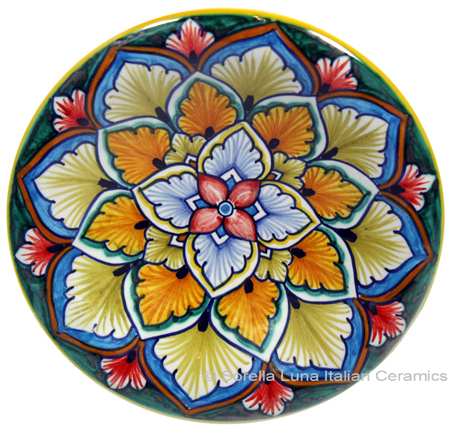 Ceramic Majolica Plate G04 Pink Orange Brown 12cm