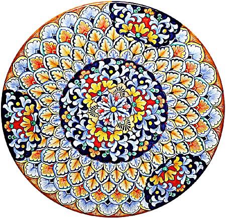 Ceramic Majolica Plate G06 G03 Blue Red Yellow 42cm